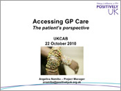 First slide of Accessing GP Care